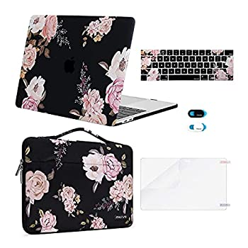 MOSISO Compatible with MacBook Pro 13 inch Case 2016-2020 Release A2338 M1 A2289 A2251 A2159 A1989 A1706 A1708 Plastic Peony Hard Shell&Sleeve Bag&Keyboard Skin&Webcam Cover&Screen Protector Black