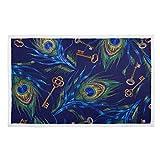 FULUHUAPIN Manta suave y cálida con estampado de plumas de pavo real para mascotas, manta protectora de muebles de 30 x 40...