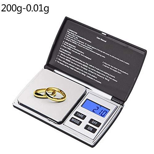 Draagbare Sieraden Weegschaal Hoge Precisie 100/200/300/500/1000 g 0,01/0,1 g Mini Gram Weegschaal voor Sieraden voor de Keuken 200 g 0,01 g