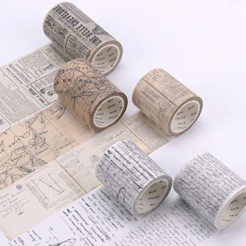 DLDLDL 5 Unids/Set Washi Tape Vintage Da Vinci Manuscrito Cintas De Enmascarado Mapa del Mundo Washi Tape DIY Scrapbooking Sticker Papelería