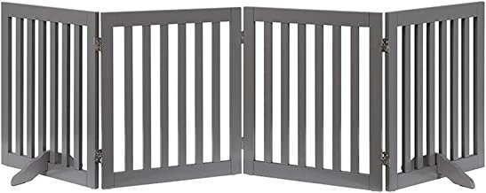unipaws Freestanding Wooden Dog Gate, Foldable Pet Gate with 2Pcs Support Feet Dog Barrier Indoor Pet Gate Panels for Stairs, Gray