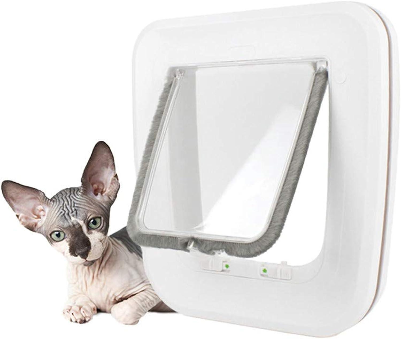 JFJL Magnetic Pet Door With 4 Way Lock For Cats&Dogs(Outer Size 25.5Cm×24.5Cm×5.2Cm),Waterproof Magnetic Pet Door Kit White, WeatherResistant Cat Door For Cats & Doggy