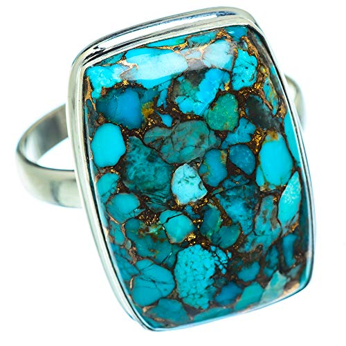 Ana Silver Co Large Blue Copper Composite Turquoise Ring Size Z (925 Sterling Silver)