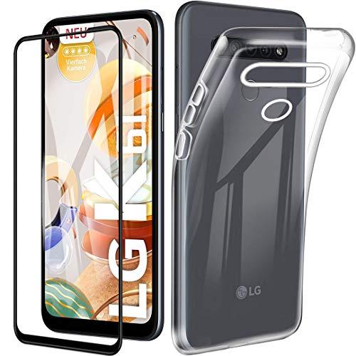 HYMY Hülle für LG K61 + 1x Schutzfolie Panzerglas-Full Glue Full Cover - Transparent Schutzhülle TPU Handytasche Tasche Durchsichtig Klar Silikon Hülle für LG K61 (6.53