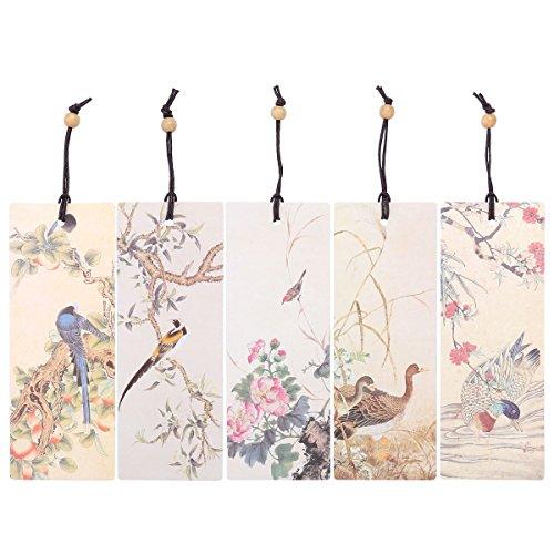 NUOLUX 5 Stück Blumen Vogel Lesezeichen Bookmarkers Chinesische Stil