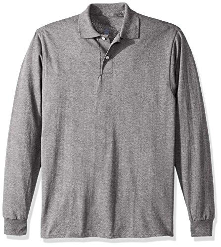 Jerzees Men's Spot Shield Long Sleeve Polo Sport Shirt, Oxford, Small