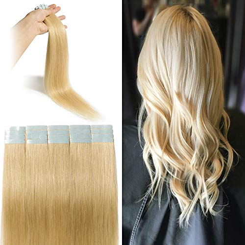 Extension Adhesive Naturel Rajout Cheveux Naturel 100% Cheveux Humain Remy Pose a Froid 20 Pièces (#24 Blond Doré, 12\