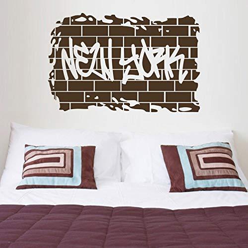 mlpnko New York Retro Wort wandaufkleber Dekoration Wohnzimmer Schlafzimmer abnehmbare Aufkleber Kunst Film Wort 104x75 cm