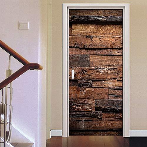 Behang deurbehang zelfklevend deurposter retro oude houten deur in formaat 77 x 200 cm - vinyl deur muurschilderwerk deur behang voor slaapkamer badkamer 95x215cm
