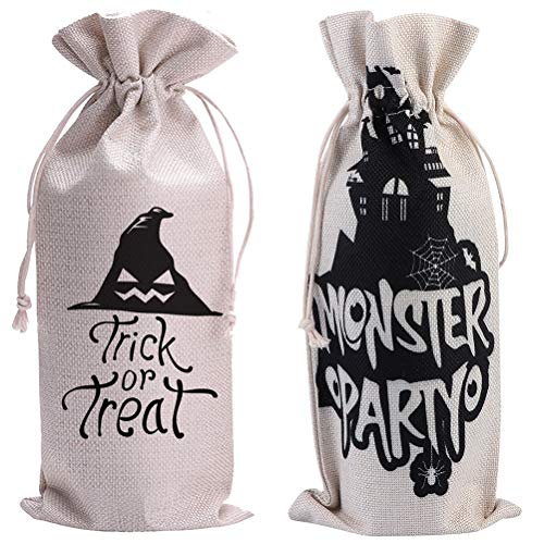 HEMOTON 2pcs Elementos de Halloween Cubierta de la Botella de Vino Cubierta de la Botella de Lino Bolsa de Regalo de Vino