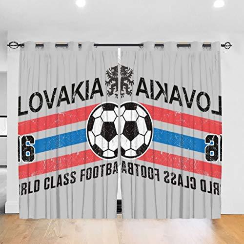 Hongyang Cortinas opacas personalizadas Euro 2016 fútbol eslovaco eslovaco bola gris ojal aislamiento térmico habitación oscurecimiento cortina para recámara salón 52 x 72 pulgadas, 2 paneles