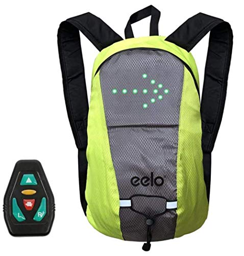 eelo Safety Backpack For Cycling With Rear LED Signal Indicators. Reflective Rucksack with Flashing Direction Lights. Queen's Award Winner - Green (Lite)