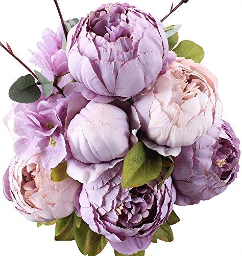 Amkun - Bouquet vintage di peonie artificiali in seta, ornamento per casa e matrimoni, confezione da 1 New Purple