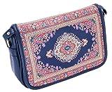 Hasham & Sons Ltd - Bolsa de mensajero para tablet iPad con solapa completa vintage mediados de siglo damas niñas cruzadas correas de hombro tela de cuero único diseñador Kilim Multi