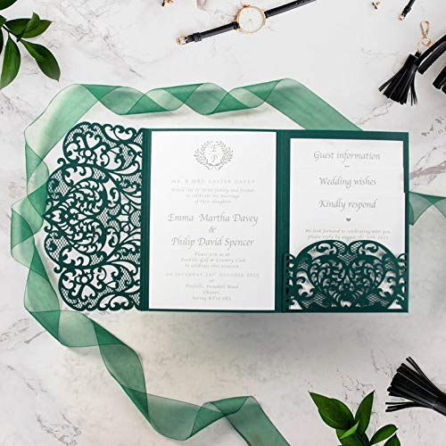 50 CARDS PACK Forest Green Laser Cut Wedding Invitations with Envelopes DIY Lace Elegant Kit with template Floral trifold printable Invitation