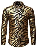 HOP Fashion Mens Gold Silver Zebra-Striped Print Shirt Luxury Long Sleeve Slim Fit Button Down...