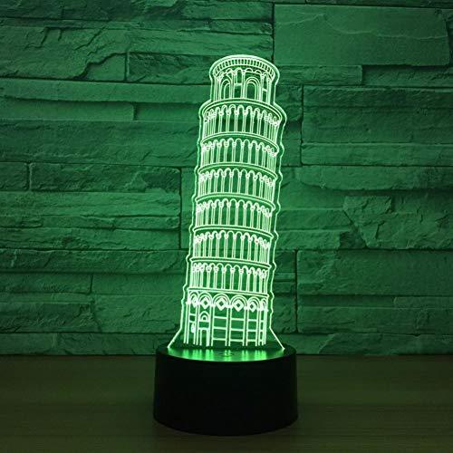 Yujzpl 3D Illusion Lampe Led Nachtlicht Mit 7 Farben Flashing & Touch-Schalter,Für Schlafzimmer Kinder Weihnachts Valentine Geburtstag Geschenk[Energieklasse A++]Schiefer Turm Von Pisa