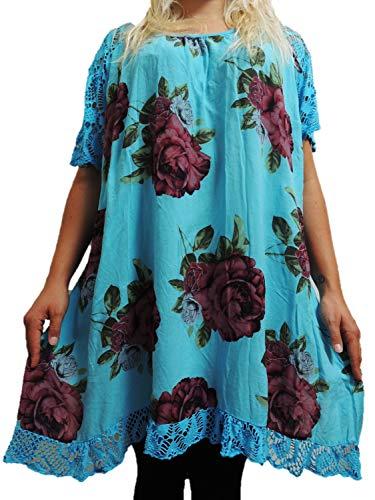 10 Farben zur Auswahl Blusen Shirts mit Rosenmuster Größe 46, 48, 50, 52, 54 (Hellblau)