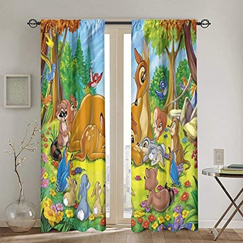Bambi - Cortinas opacas con 2 paneles para dormitorio, sala de estar y ventana, supersuaves, 150 x 172 cm