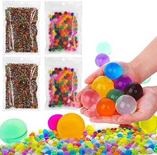 20000 Small & 400 Jumbo Water Beads Sensory Toys for Kids, Non Toxic Water Gel Beads Rainbow Mix Pack - Value Arts and Crafts Supplies Kits