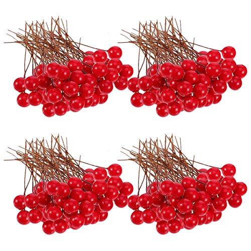 N-A Beeren, 100 Stück 10 mm künstliche Beeren für Weihnachtsbaum-Dekoration, Girlande zum Basteln, rot