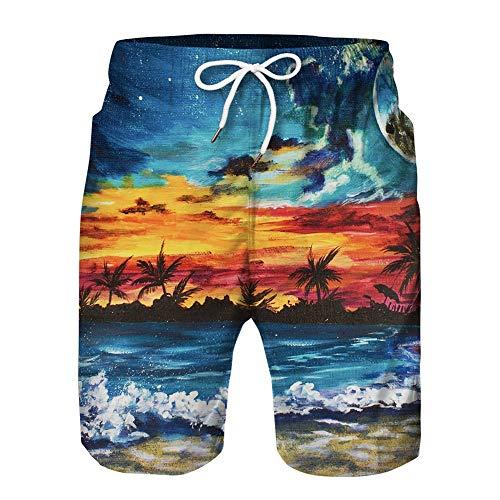 Heren jongens zwembroek Grappige 3D-print Zwemmen Sneldrogende shorts Zomer Casual trekkoord Elastische taille Strand Surfshorts,C,L