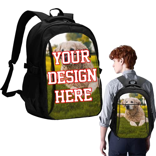 Custom Laptop Backpack With Your Photo Name Text, Personalized Photo Customized Multifunction Travel Backpack with USB Charging Headphone Port