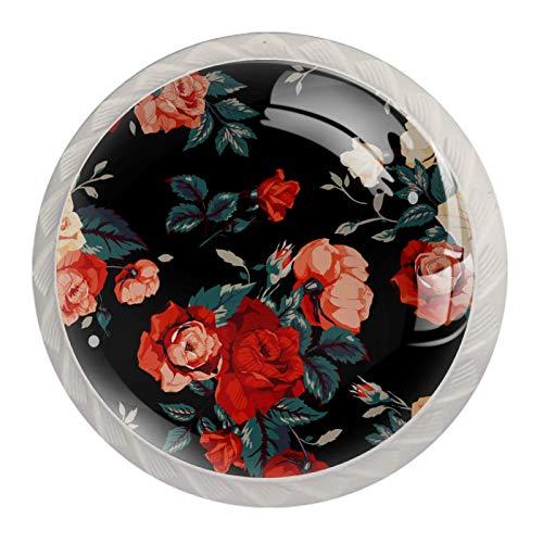 4 Niños Perilla de cajón Flor floral negra perilla del gabinete de muebles perilla de puerta del mueble de Cristal mango fijado con tornillos de los 35mm