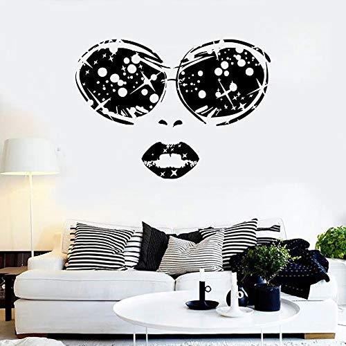 Tianpengyuanshuai Sonnenbrille wandtattoo Frau Gesicht Brille Lippen mädchen schönheitssalon Dekoration Vinyl wandaufkleber mädchen Schlafzimmer wandbild 42x30 cm