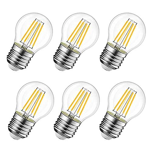 6W Ampoule LED Filament E27 G45, Equivalente à Ampoule Halogène Vintage 60W, Blanc Chaud 600Lm 3000K, Non réglable, Lot de 6.