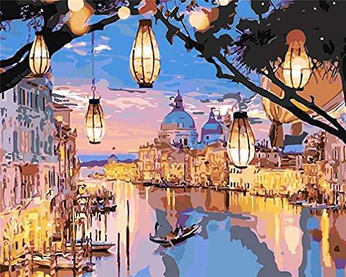 Kit de pintura por números, Amiiba Night Venice, luz romántica de la ciudad, 40,6 x 50,8 cm, pintura acrílica por número Wall Art Crafts (Venecia, sin marco)