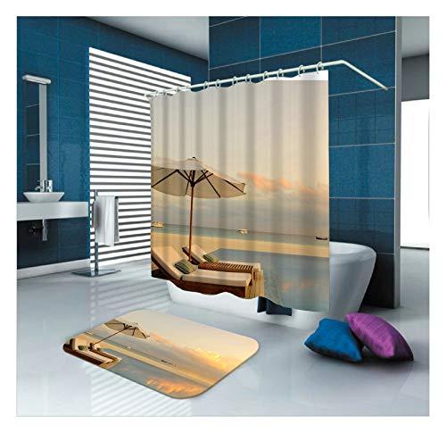 Amody Wasserdicht Dusche Vorhang-Set BadematteSunset Sonnenschirm Stuhl 150x200CM Bunt Duschvorhang Schimmelresistent 40x60CM Badematte Dusche