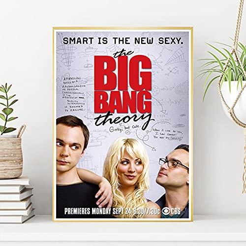 shuimanjinshan Big Bang Theory Movie Poster Wall Artist Home Decoration Canvas Art Nordic Living Room Hotel Bar Cafe (Pe-787) 50x70cm No frame