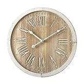 Rebecca Mobili Reloj De Pared, Relojes Estilo Retro, Blanco Marrón Claro, Madera MDF, Números Romanos, para Regalo - Medidas: 40 x 40 x 4,5 cm (AxANxFON) - Art. RE6463