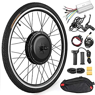 """Anbull 26"""" Front Wheel E-Bike Conversion Kit, 48V 1000W Electric Bicycle Powerful Hub Motor Kit with Intelligent Controller and PAS System"""