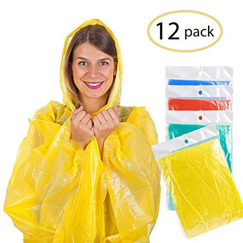 AODOOR Regenponcho mit Kaputze, Poncho Regenmäntel Wasserdicht Unisex-Erwachsene Notfall wiederverwendbar Regen Wasserdicht Poncho mit Kapuze (12 Pack)