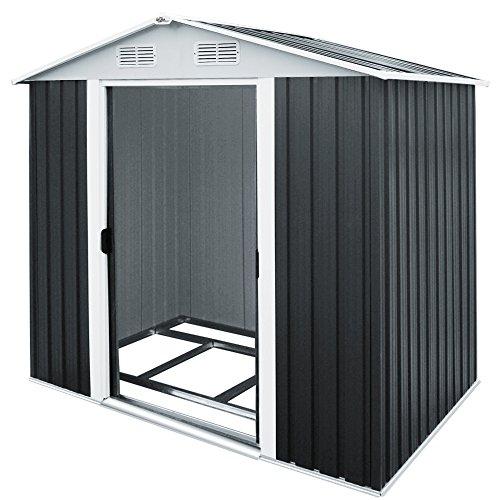 Deuba XL Metall Gerätehaus 4,2m³ mit Fundament 210x132x186cm Schiebetür Anthrazit Geräteschuppen Gartenhaus