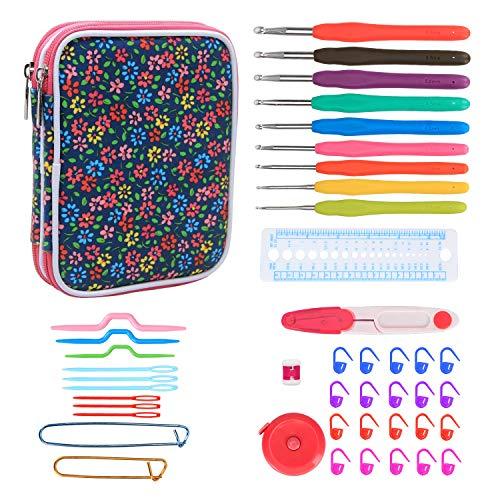 Teamoy Serie de Crochet Kits de Ganchillo Estuche para Crochet Organizador de Agujas Bolsa de Herramientas Juego del Ganchos (incluido accesorios),flor azul