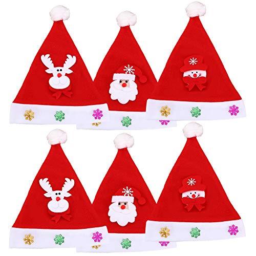 Sombrero de Sant, 6 piezas Gorro Navideño, niños Disfraces de Navidad Decoración, Reno de Papa Noel Sombrero Para suministros festivos de Navidad y Año Nuevo