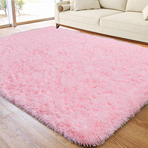 ACTCUT Ultra Soft Indoor Modern Area Rugs Fluffy Living Room Carpets for Children Bedroom Home Decor Nursery Rug 4x5 Feet, Pink