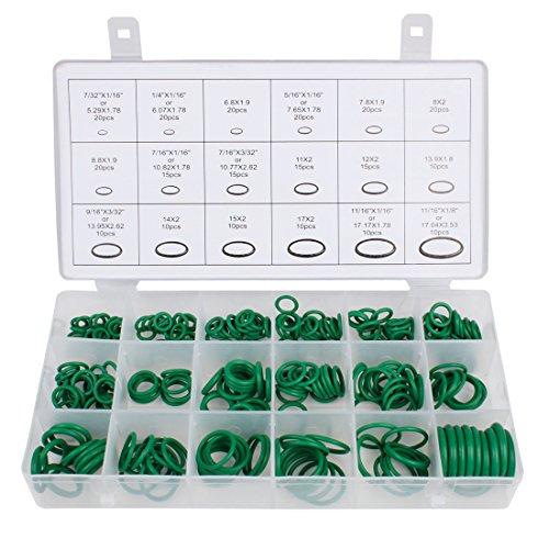 Larcele 18 Größen Gummi-O-Ring-Sortiment kit Dichtungen für Kfz-Klimaanlagen-Kompressor,270 Stück QC-MFX01 (Grün) MEHRWEG