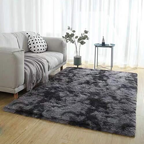 Fleckige Batik-Farbverlauf Teppich Wohnzimmer Couchtisch Matte Net rot langes Haar waschbar Full Shop Schlafzimmer Teppich,E,60CM*120CM