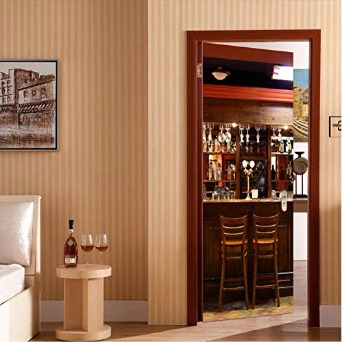 DIY 3D pegatina de puerta moderna barra creativa papel tapiz PVC autoadhesivo impermeable decoración del hogar vinilo Mural pared calcomanía pasta al por mayor