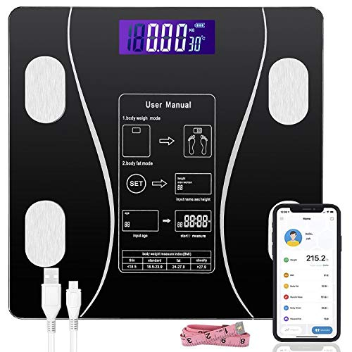 JUDONGJU Digital Scale for Weight and Body Fat, Smart BMI Scale Wireless Bathroom Scale Body Composition Analyzer with Smartphone App sync with Bluetooth 396lb (Black)