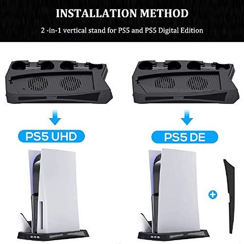 TPFOON Vertikaler Stander Ladestation für PS5 Controller, Lüfter Kühler StandfuB mit Type C Ports, PS5 Controller Ladesation für Playstation 5 DE/UHD