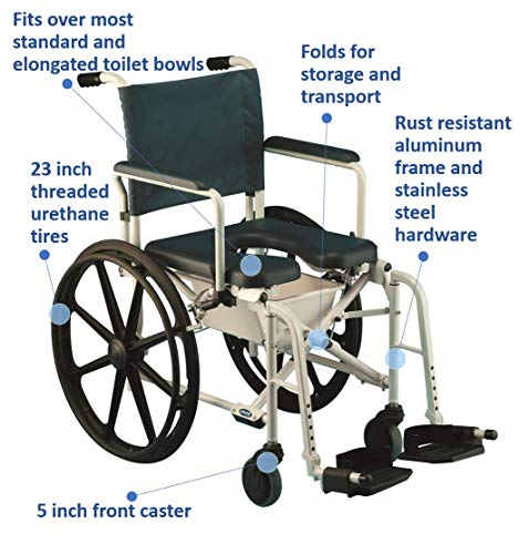 Invacare Mariner Rehab Shower Wheelchair with Commode Opening, 18'' Seat Width, 6895