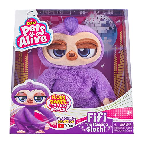 """Pets Alive Fifi the Flossing Sloth Purple - 11"""" Interactive Animal Dancing Robotic Plush Toy with 3 Songs, Floss Dance, Adorable Gift, Party Plush Toy Kids Ages 3+"""