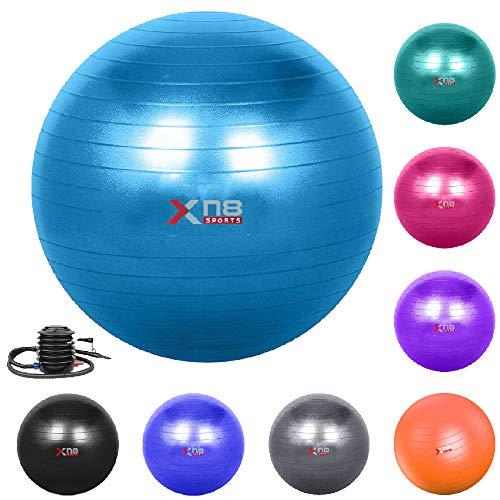 Xn8 Palla Yoga - da Ginnastica - Fitness - 55-85 cm Palla Swiss per Pilates-Esercizio Fisico - Fitness- Gravidanza -Terapia -Ginnastica - Formazione a Casa - Anti-Scoppio con Pompa