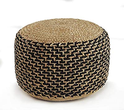"LR Home Jute Pouf, 18"" x 18"" x 12"", Natural/Black"