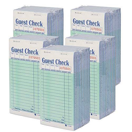 Guest Check CT-G7000 2 Part Carbonless, Perforated, Green, 3.4' x 6.73' Qty: 2500 (5pkg, 50 of 10 Books)